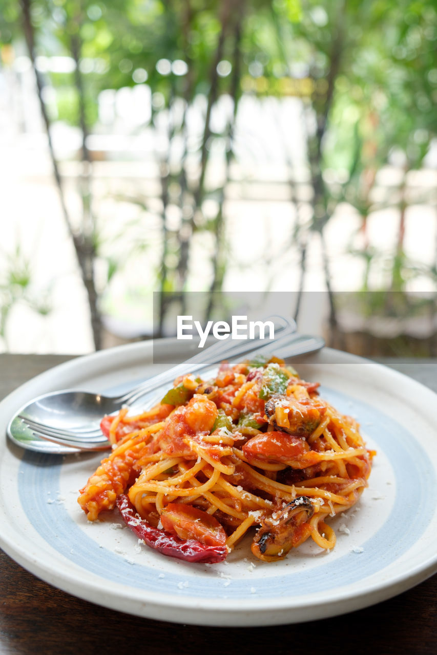 plate, food and drink, food, ready-to-eat, table, freshness, pasta, italian food, meal, wellbeing, no people, serving size, focus on foreground, close-up, still life, healthy eating, plant, indoors, day, herb, garnish, spaghetti, dinner, crockery, temptation, savory sauce, tomato sauce