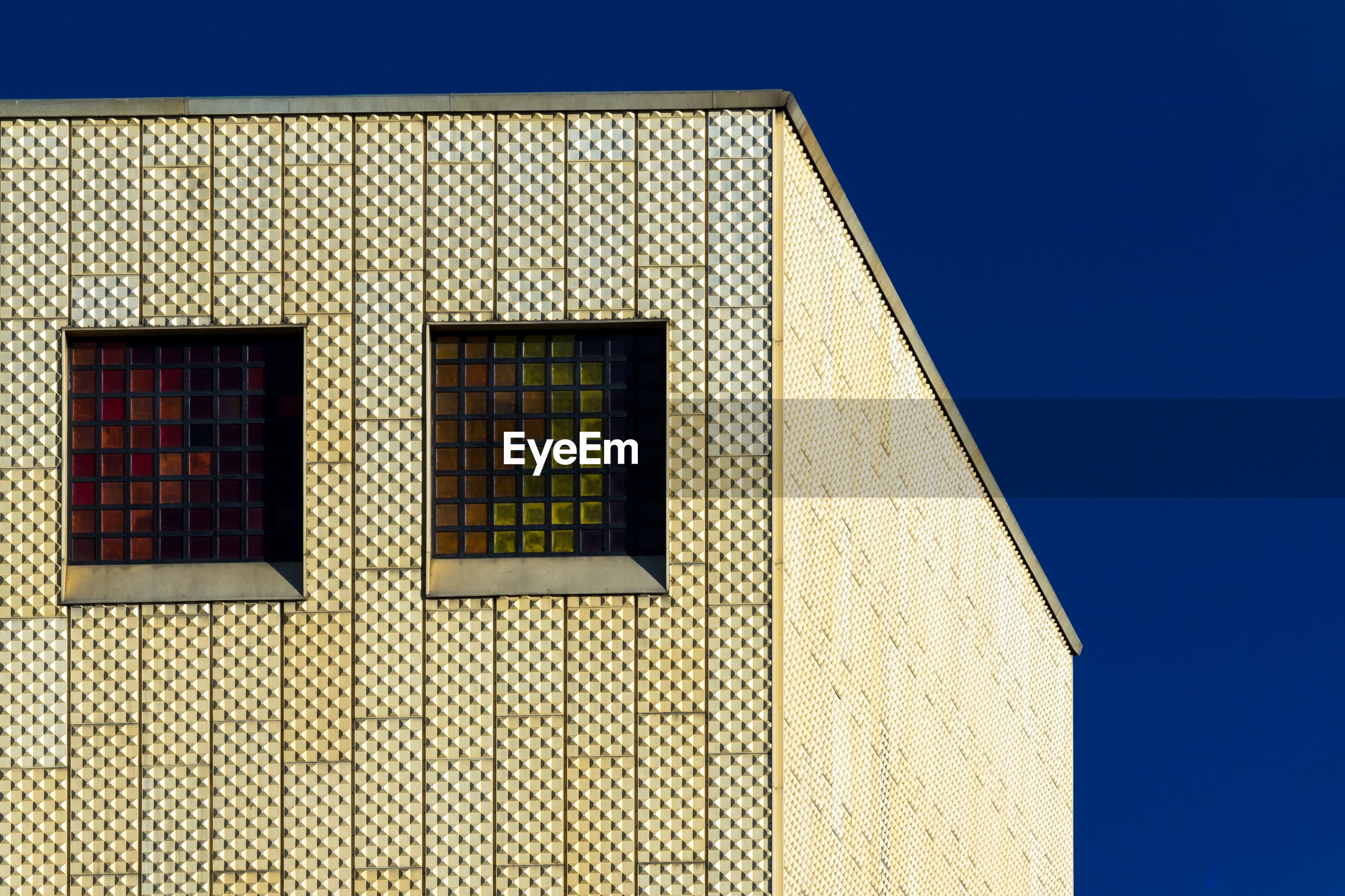 window, architecture, built structure, building exterior, blue, low angle view, day, clear sky, no people, outdoors, sky, close-up