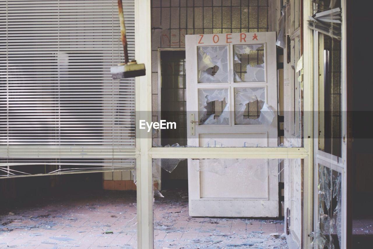 Damaged door of home