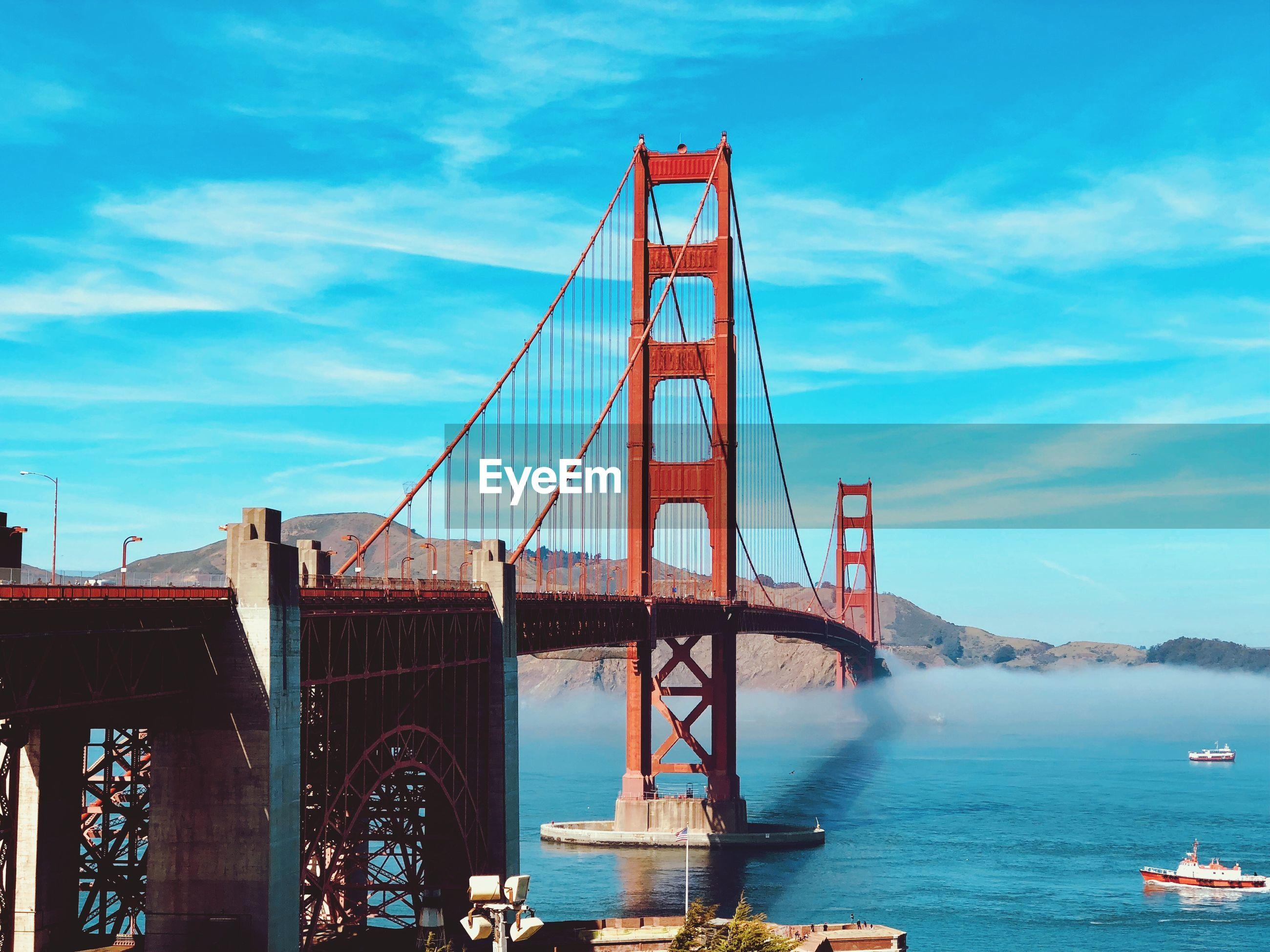 Golden gate bridge over bay of water