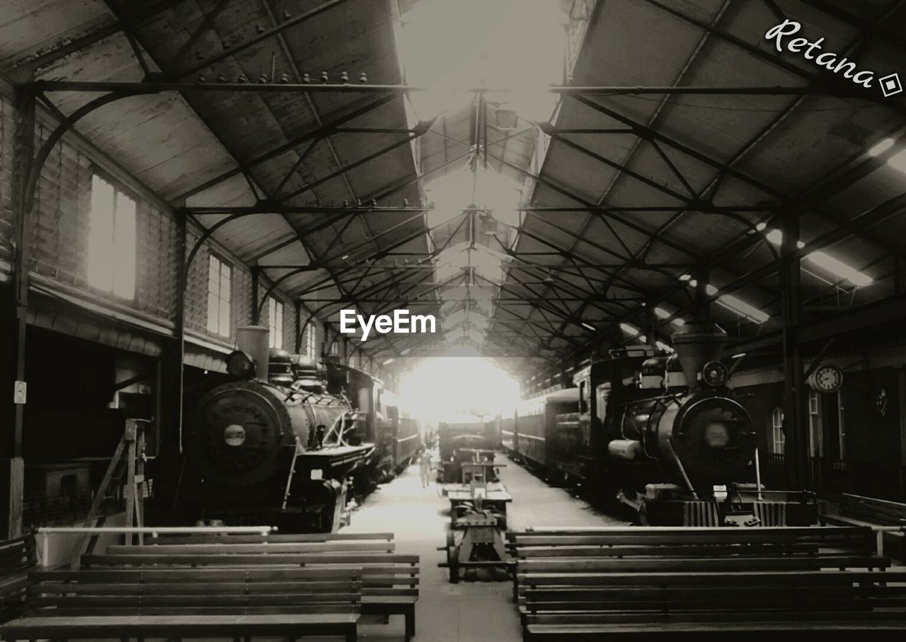 indoors, real people, rail transportation, men, illuminated, technology, day, one person, people