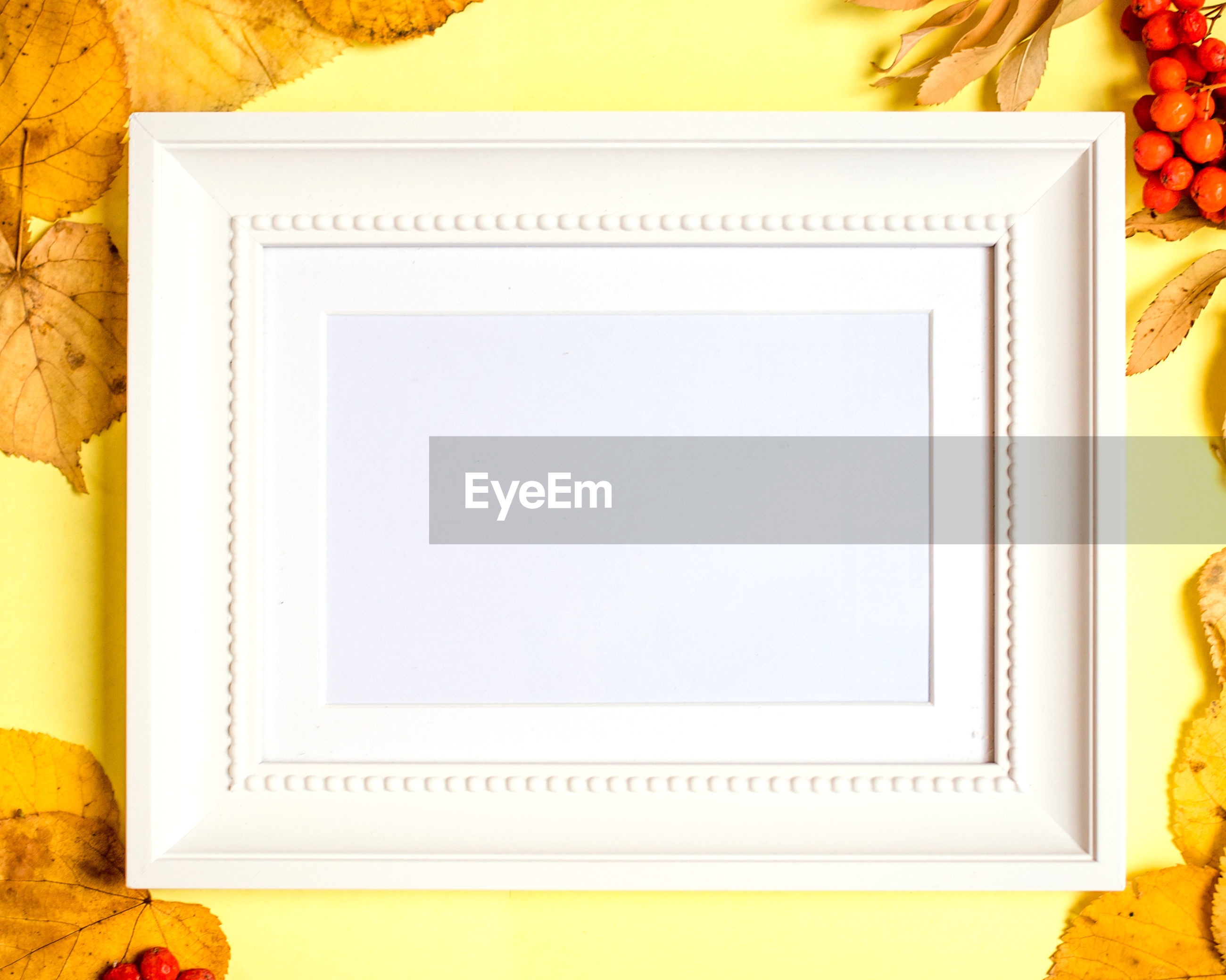 Directly above shot of blank picture frame on yellow background