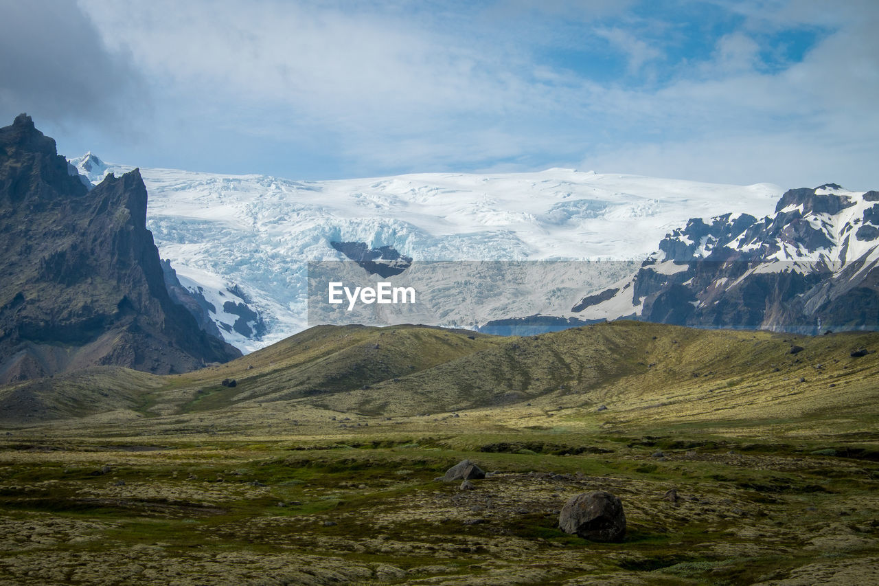 mountain, scenics - nature, landscape, beauty in nature, sky, mountain range, cloud - sky, tranquil scene, environment, non-urban scene, tranquility, nature, winter, day, idyllic, snow, cold temperature, remote, no people, snowcapped mountain, outdoors, mountain peak