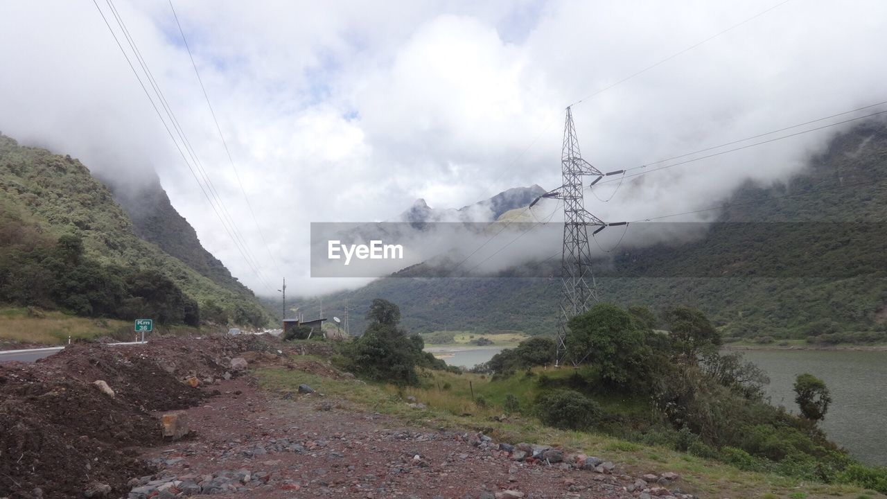 mountain, landscape, nature, sky, cable, day, beauty in nature, outdoors, no people, fog, scenics, tree