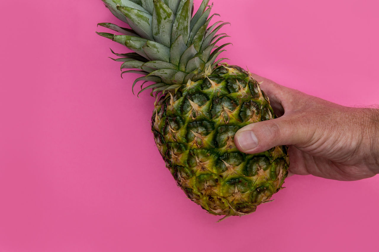 Cropped image of man holding pineapple against pink background
