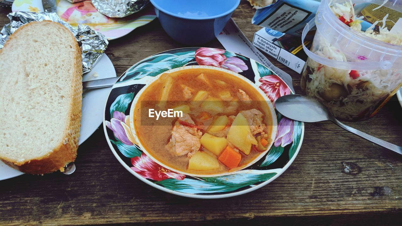 food and drink, food, bread, freshness, plate, table, serving size, ready-to-eat, healthy eating, indoors, breakfast, slice, no people, high angle view, meal, bowl, close-up, day
