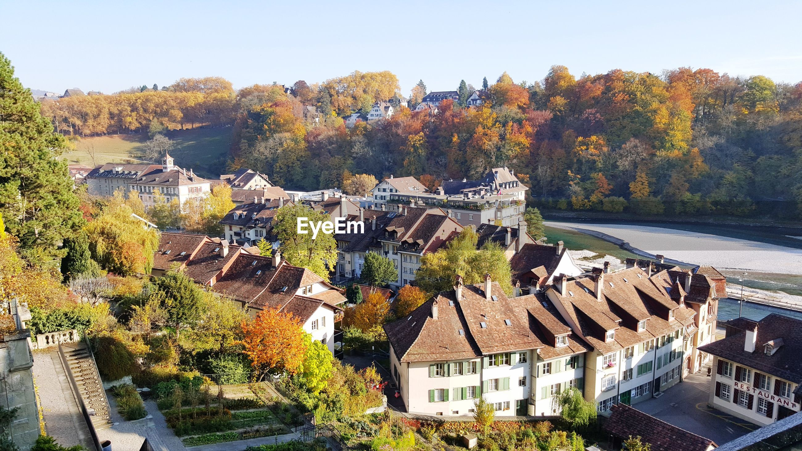 HIGH ANGLE VIEW OF TOWNSCAPE BY AUTUMN TREES