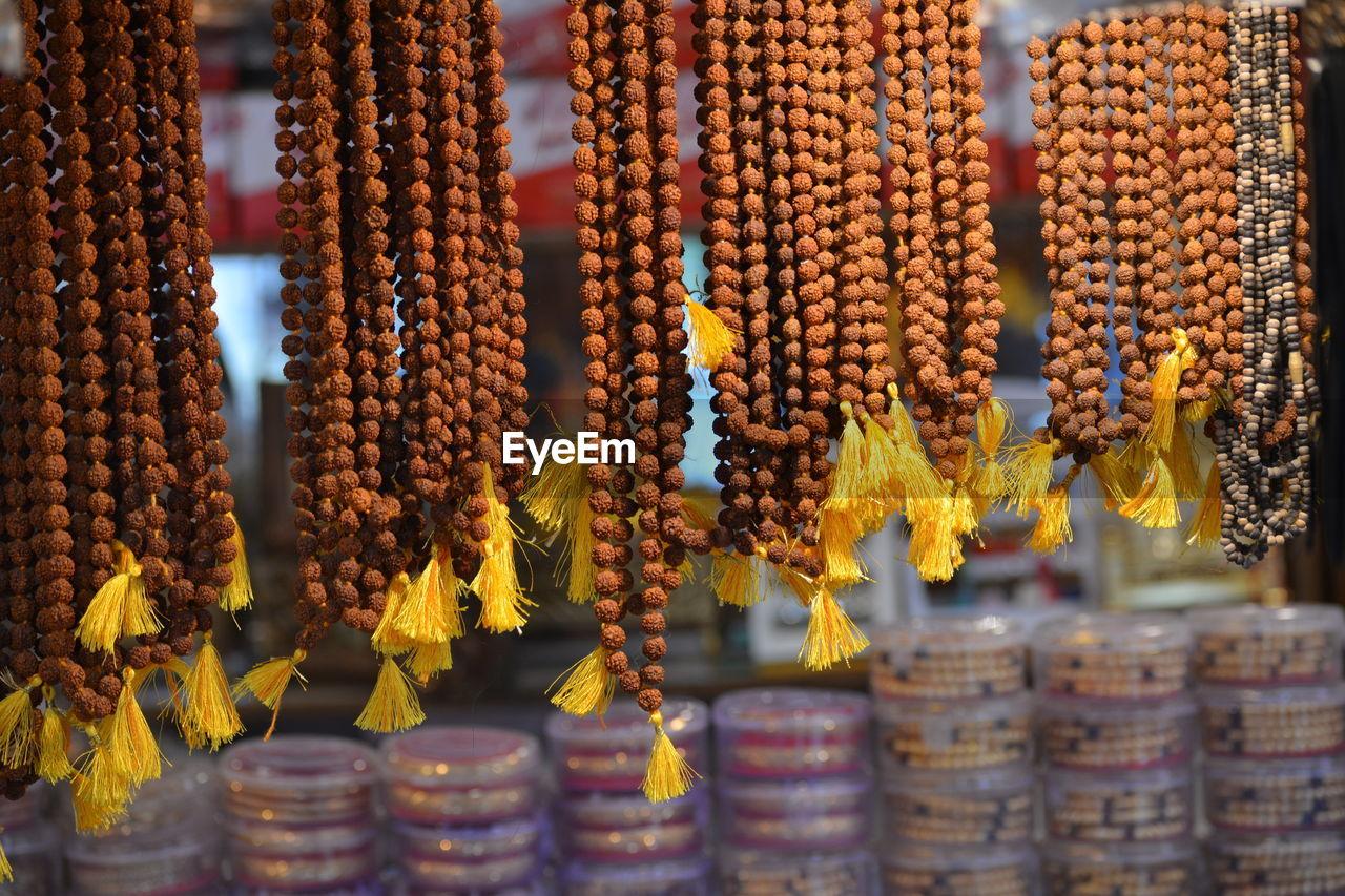 Rudraksha garlands for sale at a shop in maihar, madhya pradesh, india