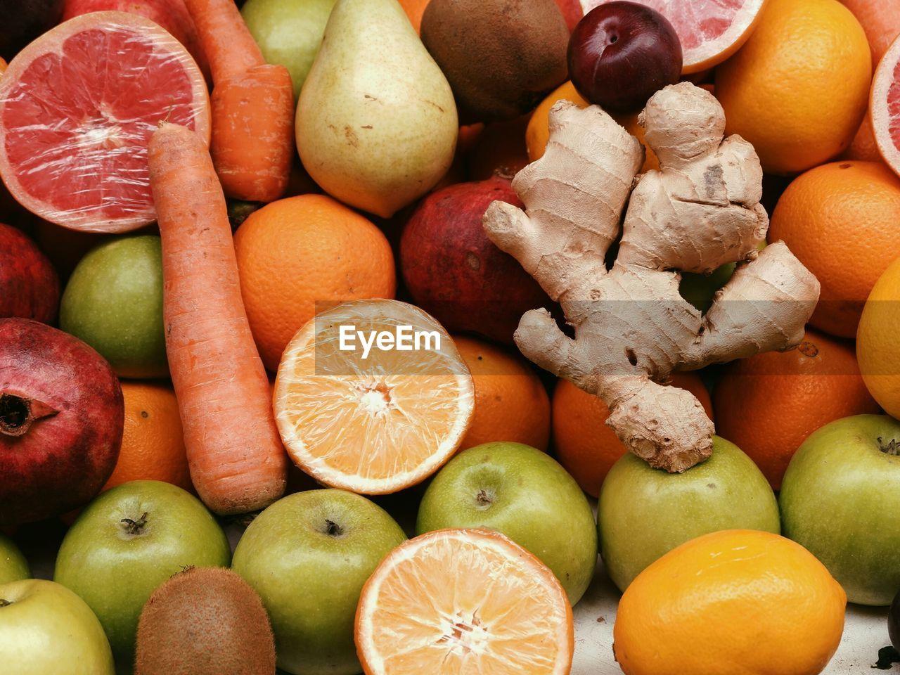 FULL FRAME SHOT OF APPLES AND FRUITS