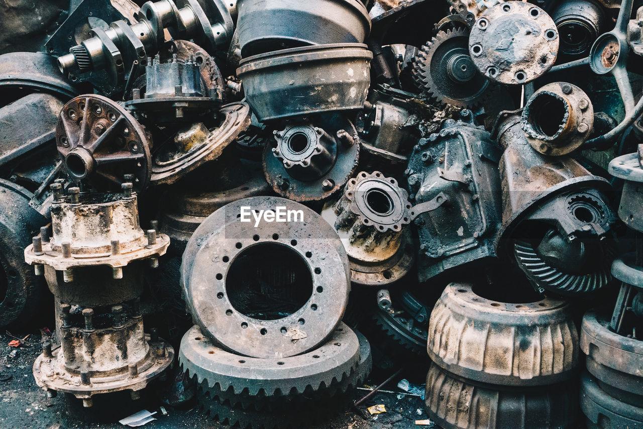 Abandoned machine parts