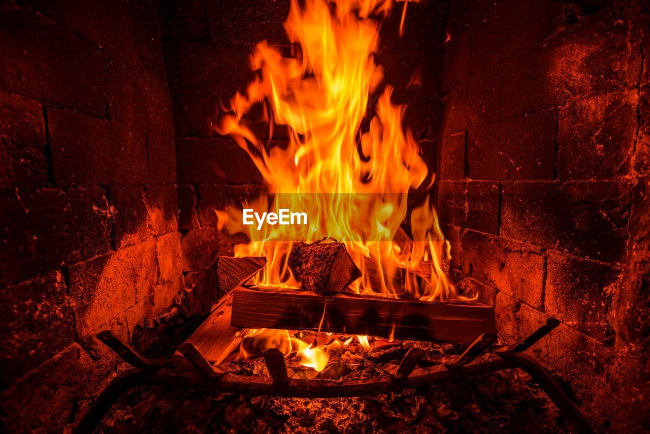 Blurred Motion Of Wood Burning In Fireplace