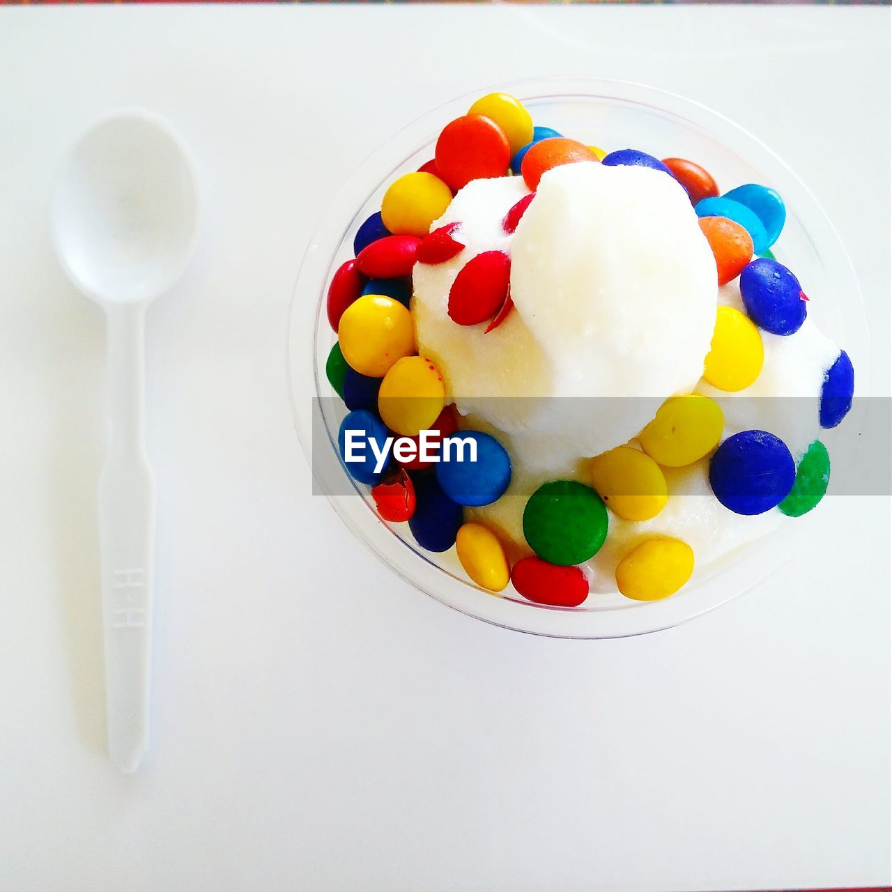 High angle view of ice cream on table