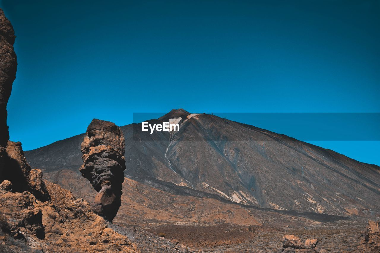 mountain, sky, clear sky, tranquil scene, blue, scenics - nature, beauty in nature, tranquility, nature, mountain range, landscape, day, geology, no people, rock, environment, non-urban scene, copy space, physical geography, remote, outdoors, formation, arid climate, climate, mountain peak, volcanic crater