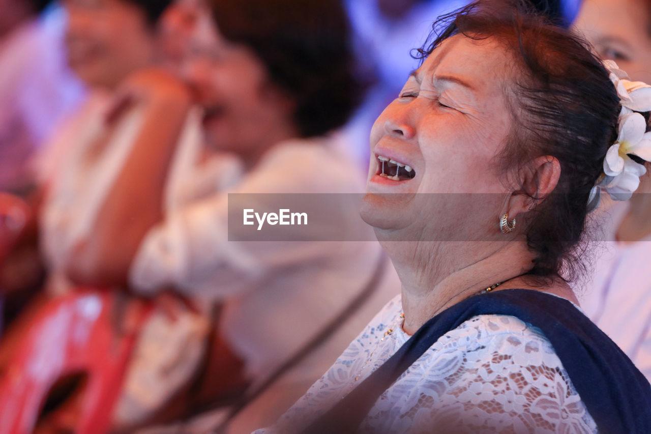 Close-Up Of Senior Woman Crying