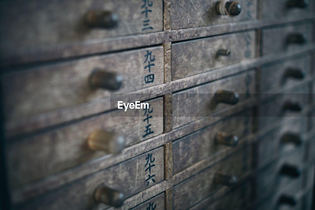 Full frame shot of wooden drawers