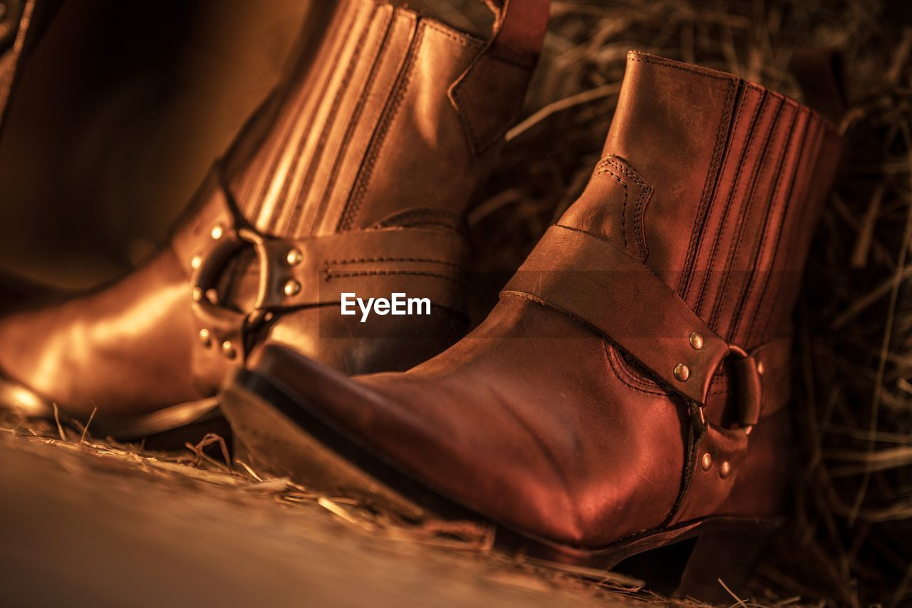 Close-up of brown boots on land