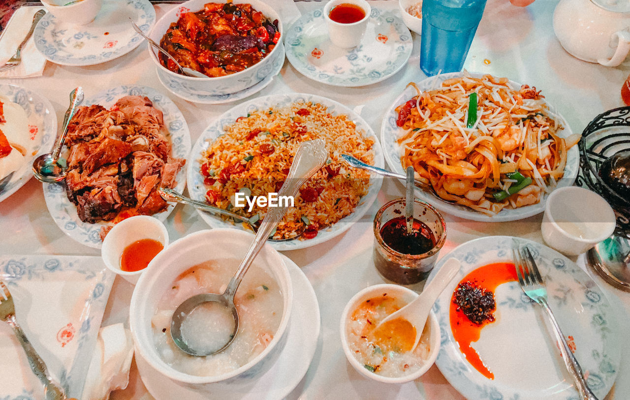 High angle view of meal on table