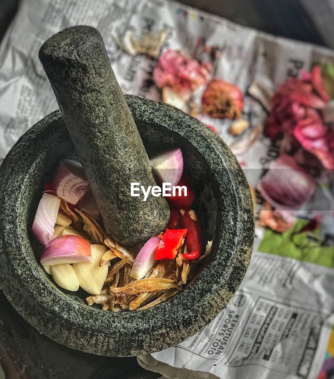 freshness, food and drink, close-up, vegetable, no people, food, indoors, mortar and pestle, still life, high angle view, flower, focus on foreground, pepper, flowering plant, red, spice, chili pepper, zucchini, plant, raw food