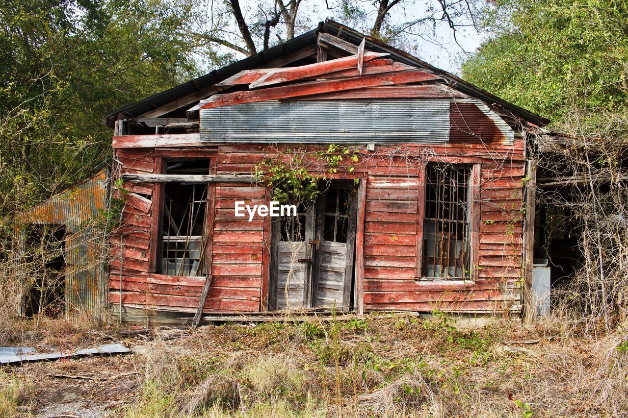 architecture, built structure, building exterior, abandoned, no people, weathered, wood - material, outdoors, tree, day, non-urban scene, rural scene, sky, grass, barn, nature