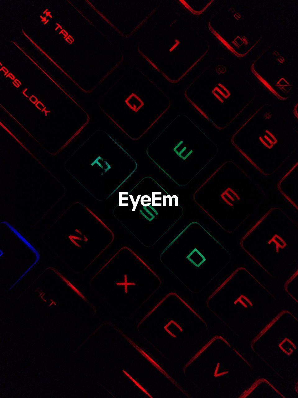 FULL FRAME SHOT OF ILLUMINATED TEXT ON COMPUTER KEYBOARD