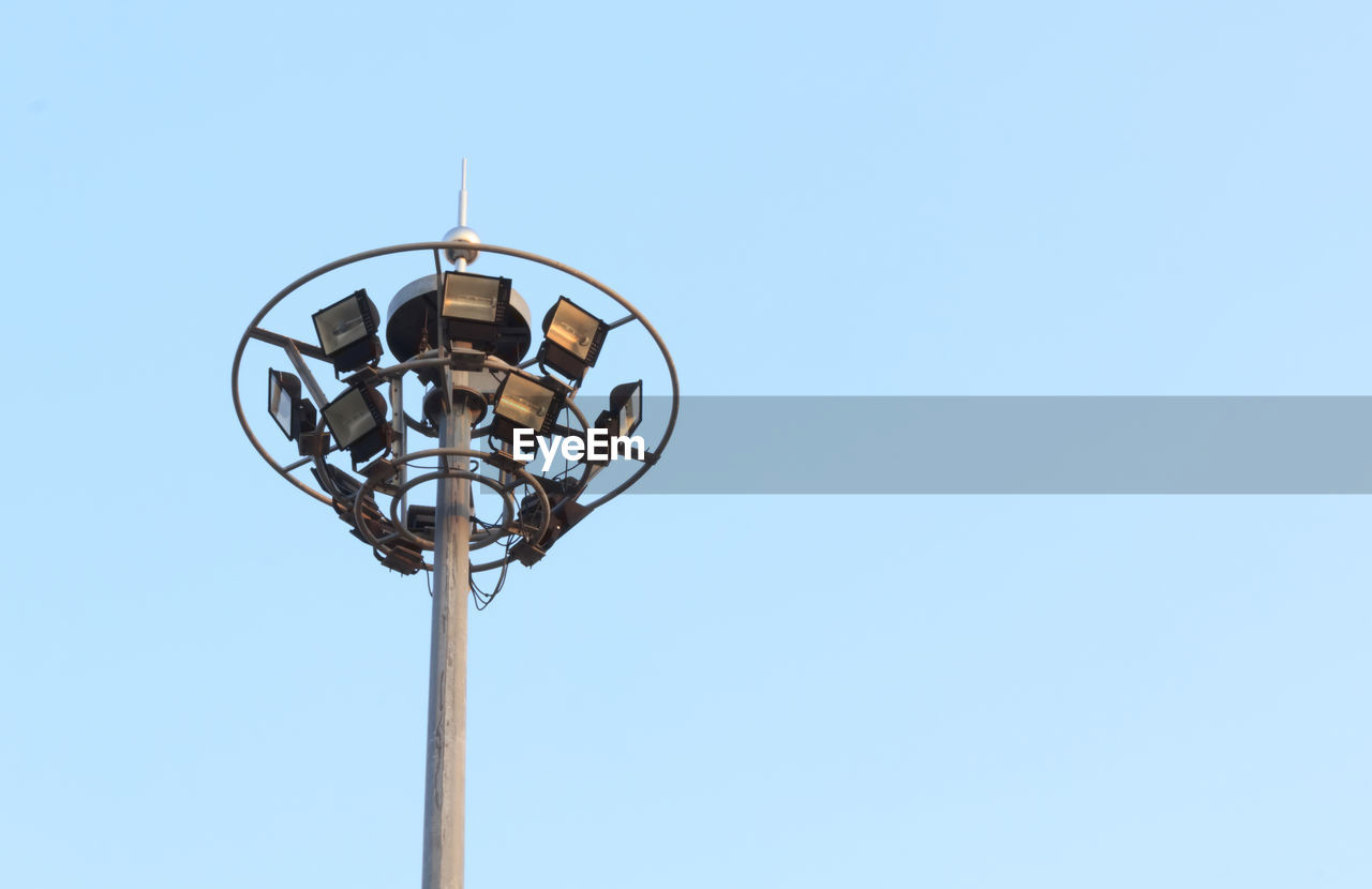 Low Angle View Of Floodlight Against Clear Sky