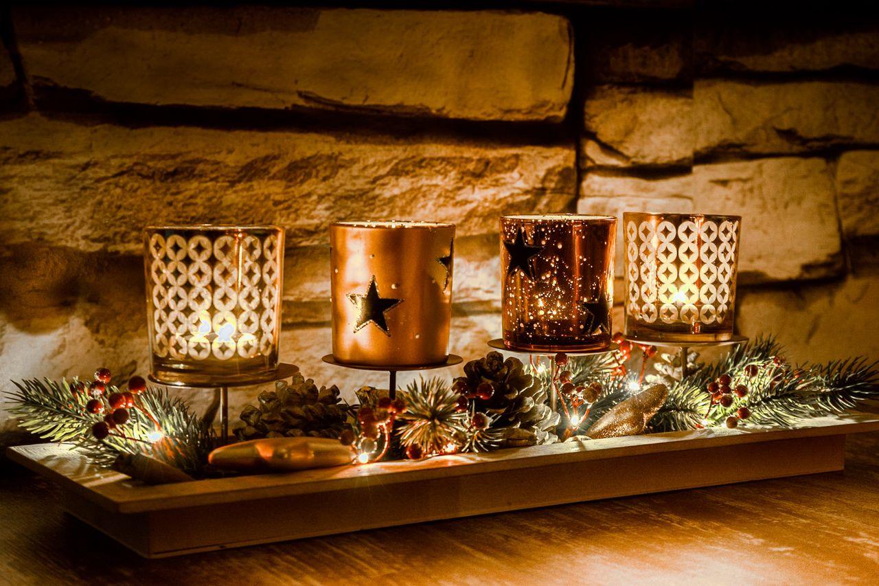 celebration, holiday, decoration, christmas decoration, christmas, illuminated, christmas tree, indoors, christmas lights, holiday - event, candle, christmas ornament, no people, tree, table, event, celebration event, still life, burning, light