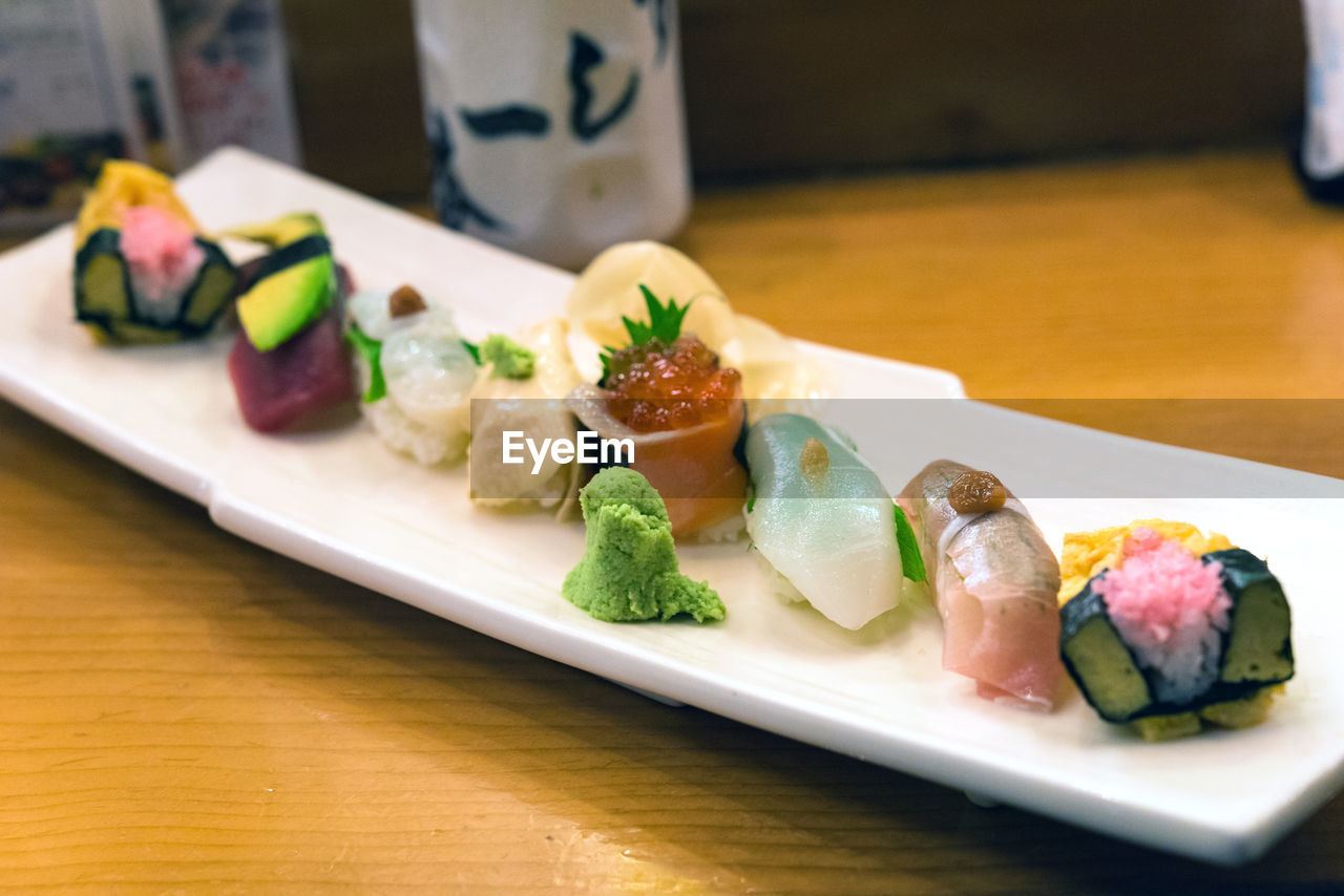 food and drink, food, table, sushi, japanese food, indoors, seafood, ready-to-eat, asian food, healthy eating, plate, freshness, rice, still life, wellbeing, serving size, fish, close-up, no people, tray, sashimi, temptation, caviar