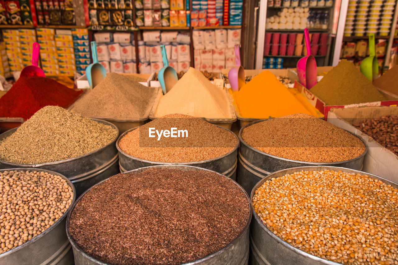 spice, market, choice, variation, market stall, for sale, food, food and drink, retail display, retail, abundance, no people, small business, freshness, business, large group of objects, arrangement, in a row, container, side by side, sale