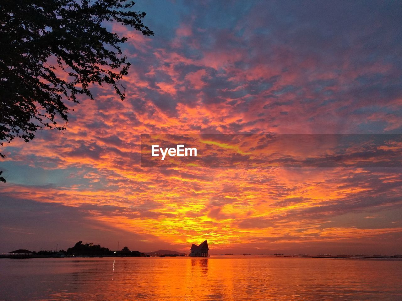 sunset, sky, cloud - sky, water, orange color, scenics - nature, beauty in nature, sea, tranquility, tree, silhouette, tranquil scene, nature, idyllic, plant, waterfront, nautical vessel, horizon over water, transportation, outdoors