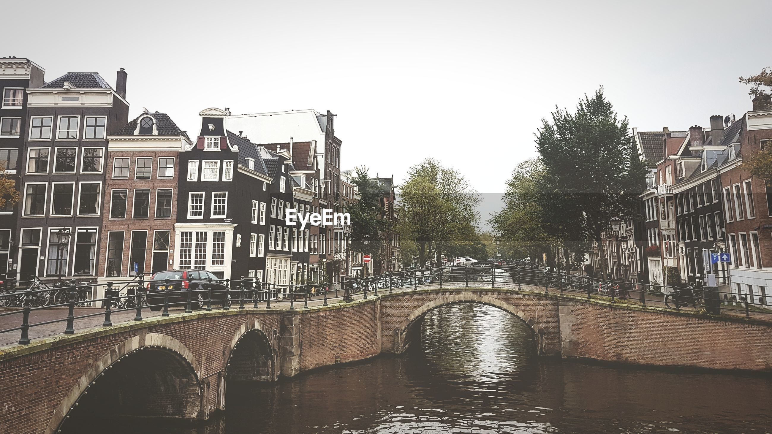 Bridge over canal in city