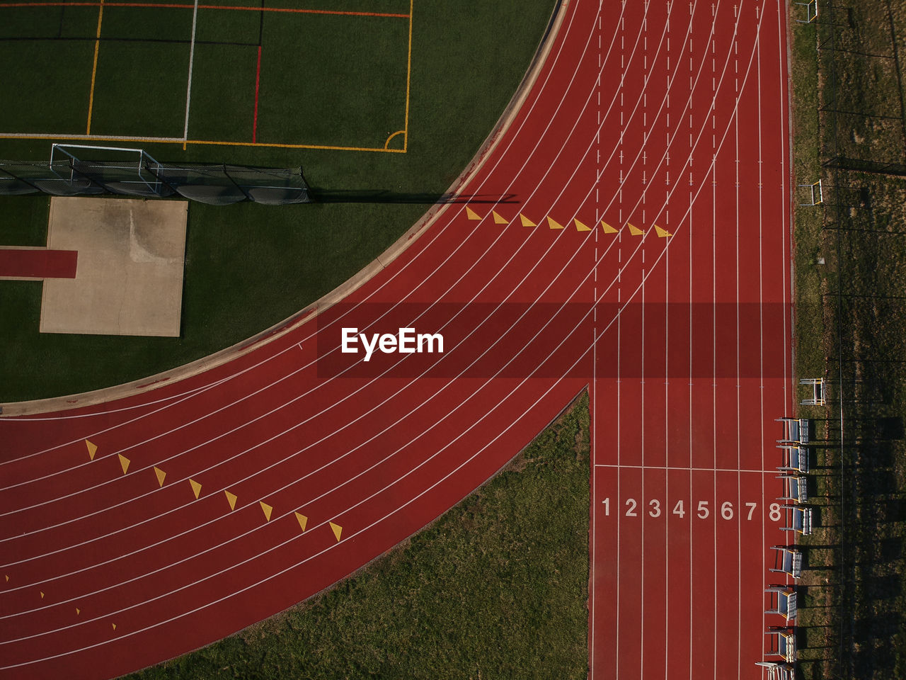 High Angle View Of Empty Tracking Field