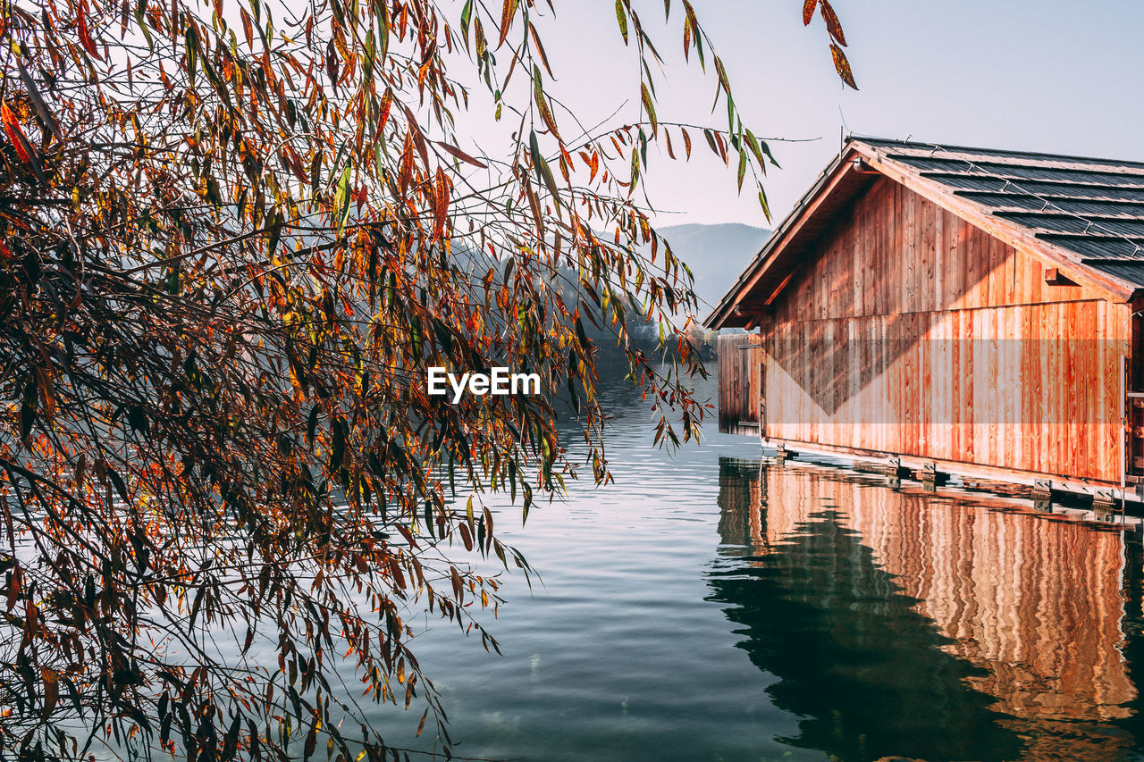 built structure, architecture, building exterior, day, outdoors, tree, nature, no people, autumn, water, beauty in nature, clear sky, sky