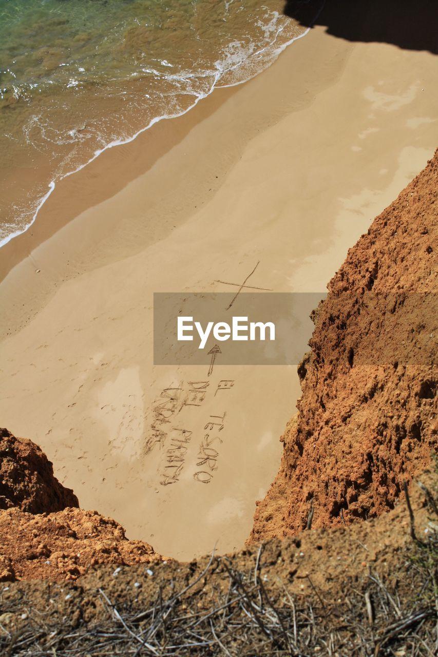 Text On Sand At Beach