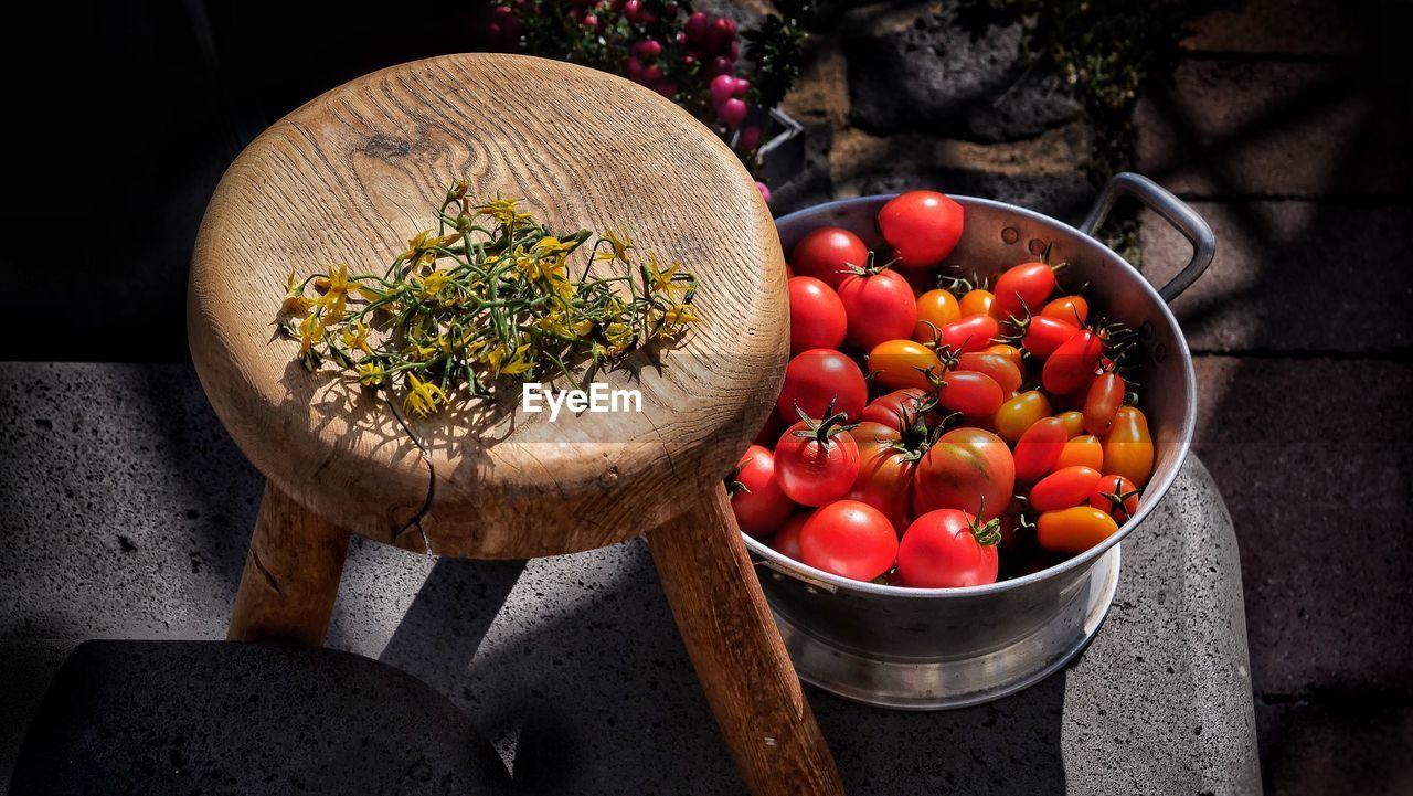 food and drink, food, vegetable, freshness, healthy eating, tomato, fruit, wellbeing, still life, no people, close-up, red, container, kitchen utensil, indoors, high angle view, household equipment, bowl, day, basket, herb