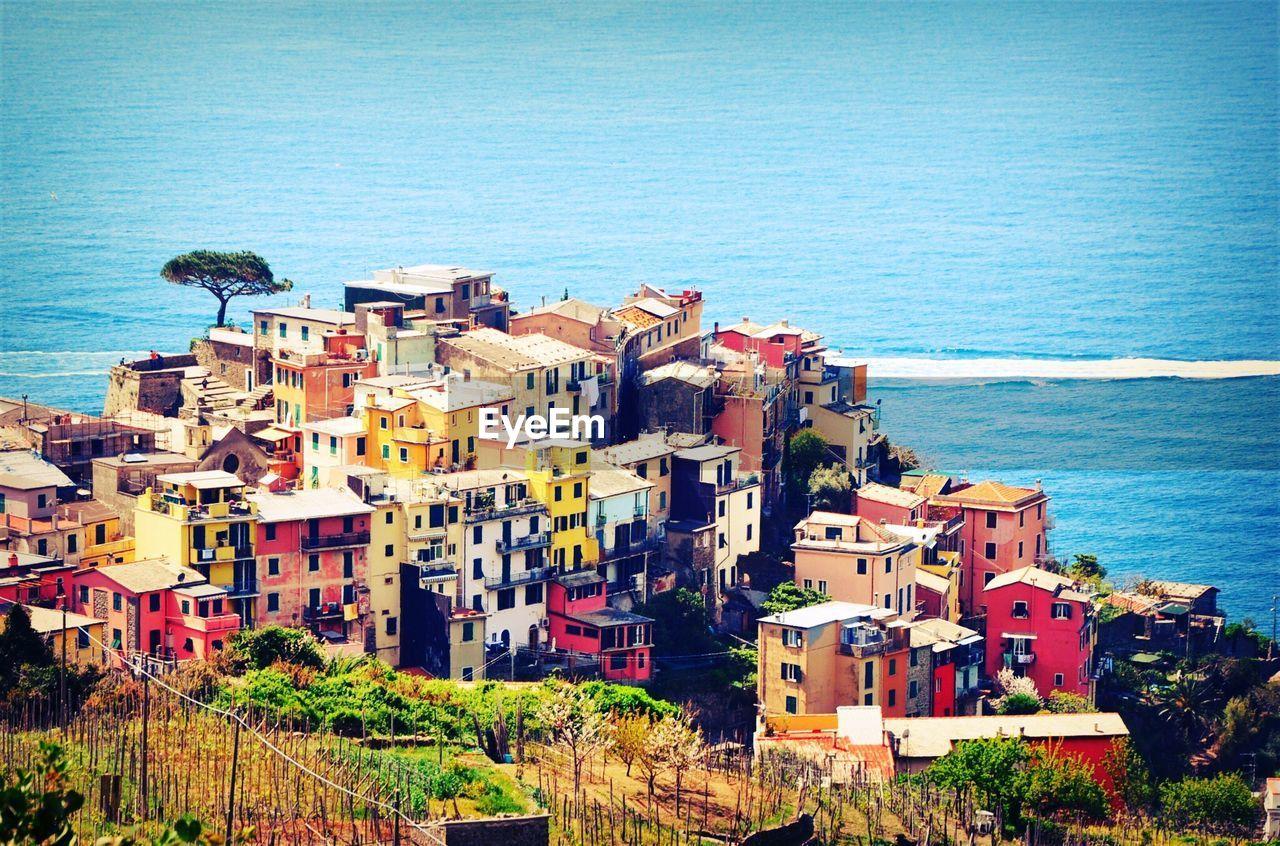 High angle view of coastal city