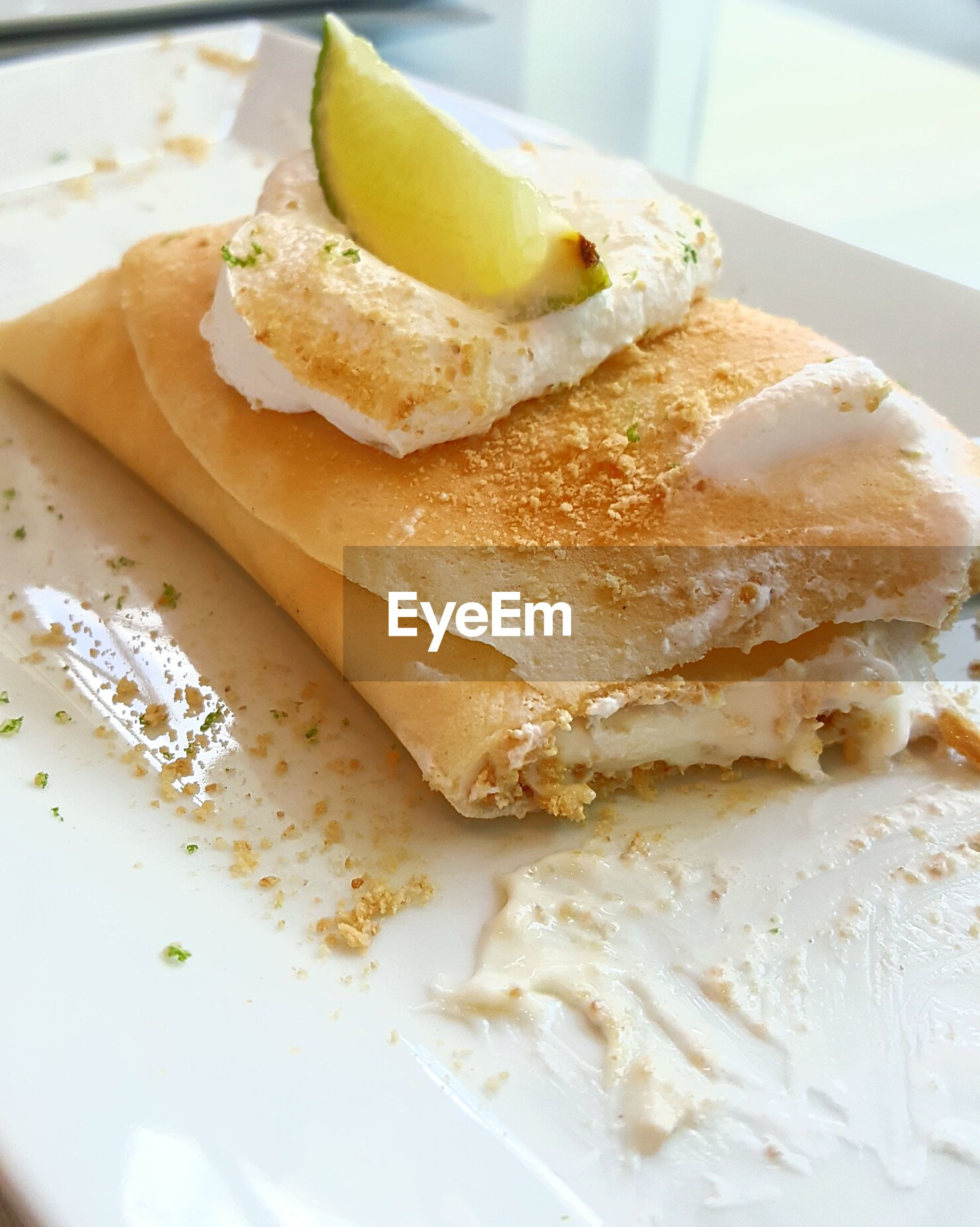 Close-up of crepe on plate