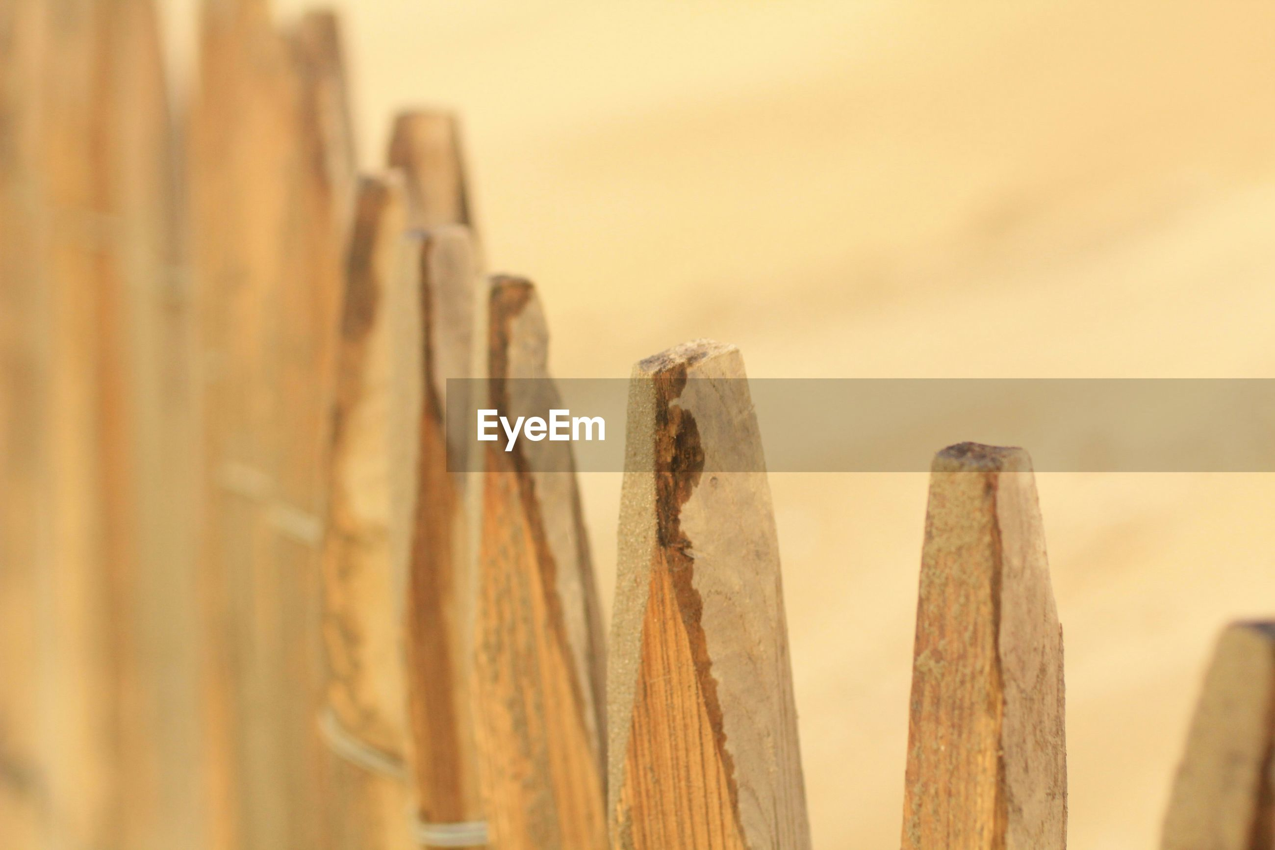 Close-up of wooden railing