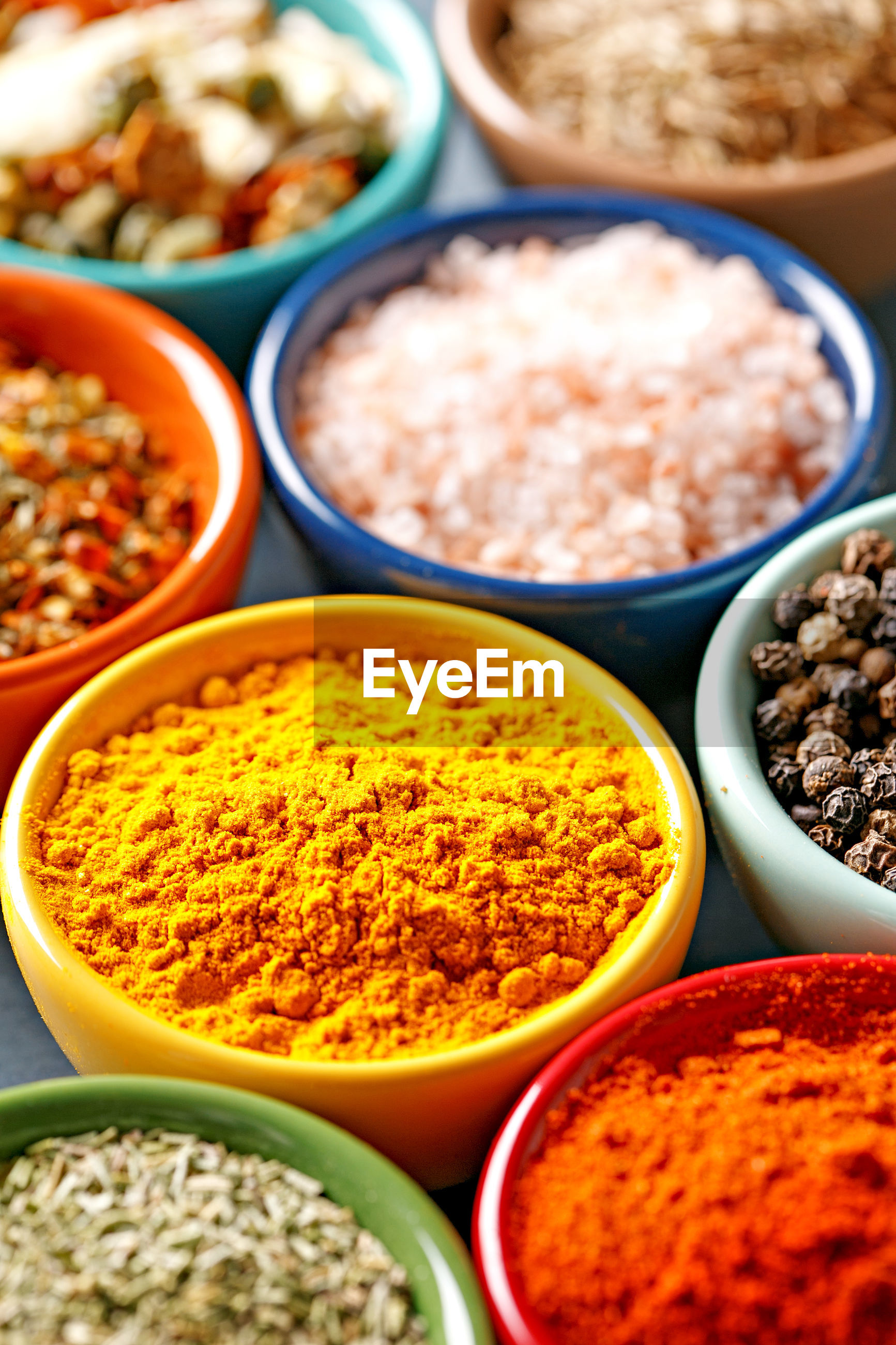 High angle close-up of spices in bowls