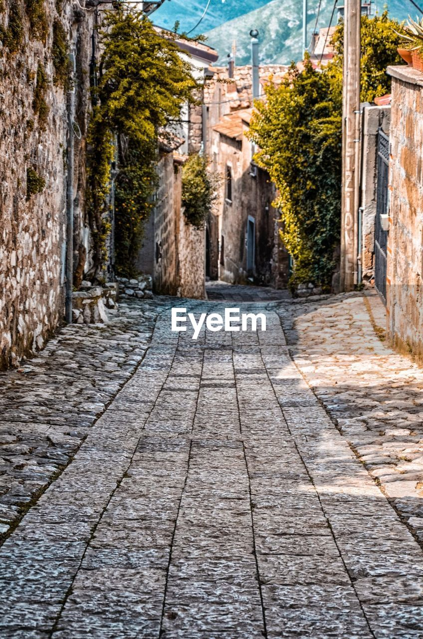 architecture, building exterior, built structure, city, street, town, building, history, residential district, the past, travel destinations, cobblestone, footpath, ancient, direction, tree, travel, no people, nature, the way forward, outdoors, paving stone, alley, cityscape