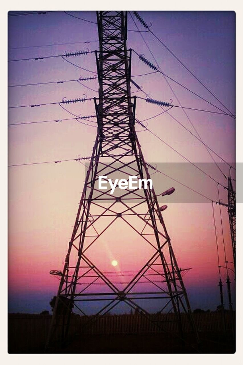 electricity pylon, sunset, electricity, fuel and power generation, silhouette, power supply, cable, tower, steel, sky, no people, industry, girder, clear sky, outdoors, golf club, day
