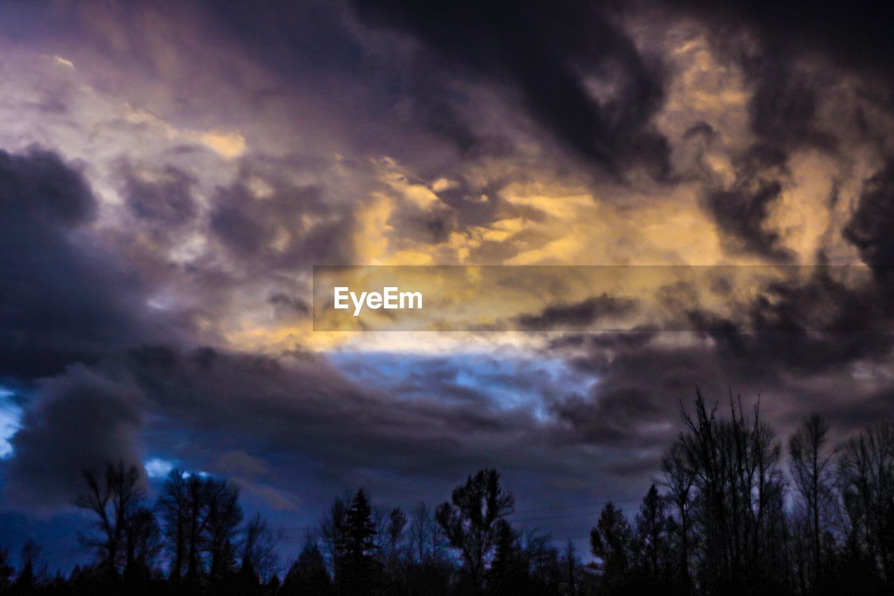 cloud - sky, sky, beauty in nature, scenics - nature, tree, tranquility, tranquil scene, silhouette, plant, low angle view, no people, dramatic sky, nature, storm, overcast, sunset, storm cloud, outdoors, dusk, meteorology, ominous