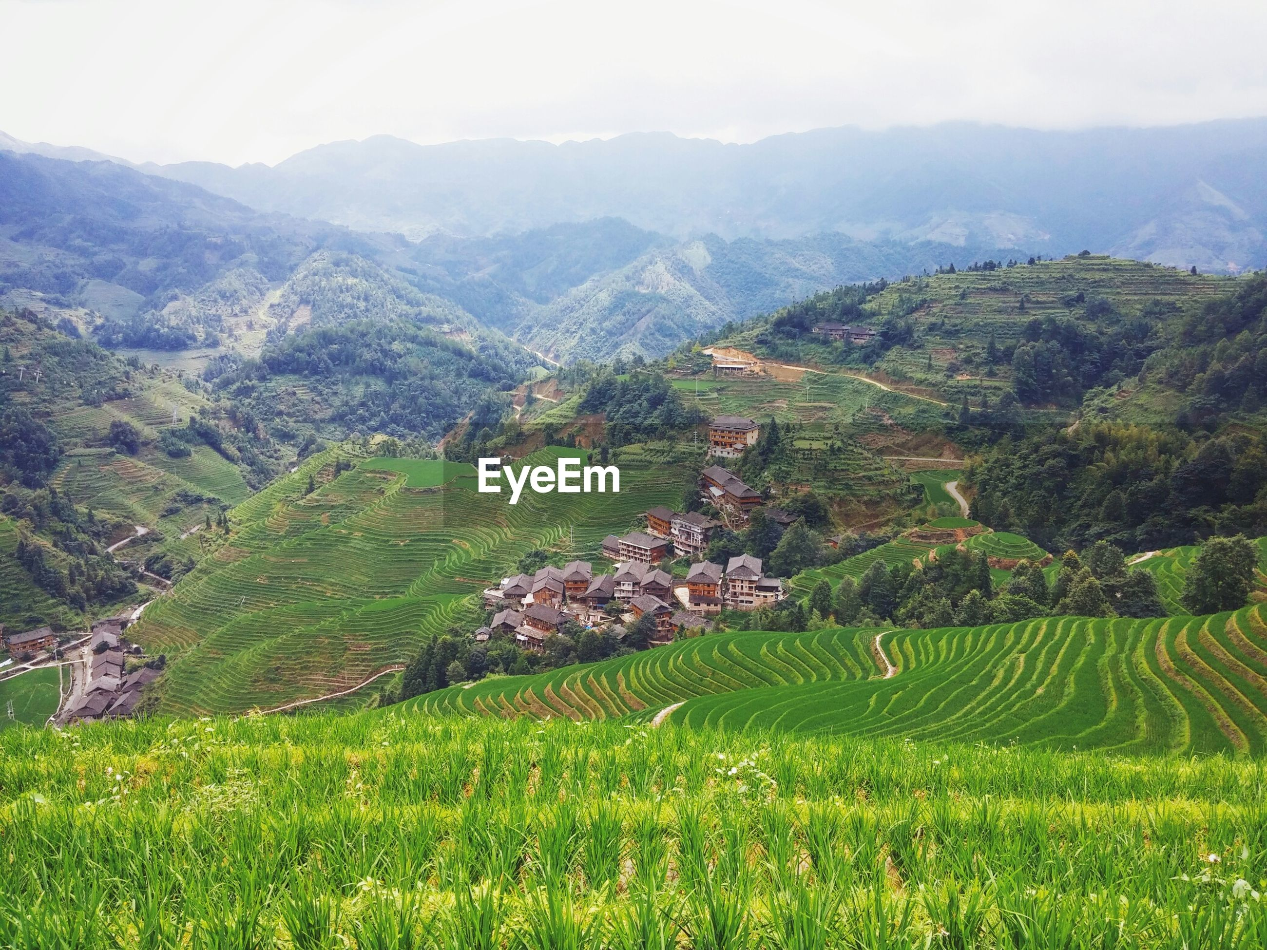 High angle view of longji rice terraces against sky