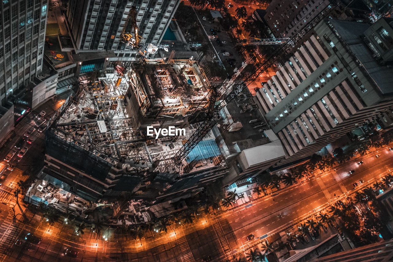 High Angle View Of Construction Site In City At Night