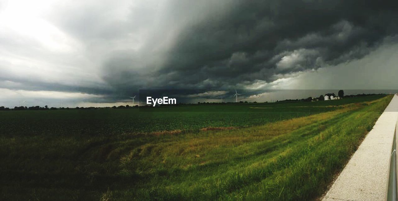 field, landscape, rural scene, nature, agriculture, cloud - sky, grass, tranquil scene, scenics, storm cloud, outdoors, sky, day, beauty in nature, no people, thunderstorm, tree