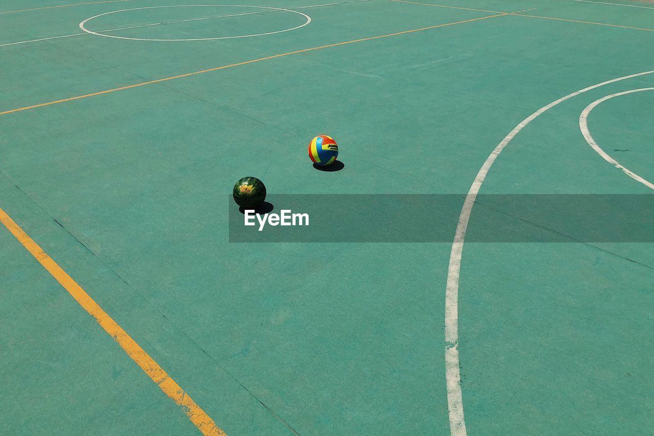 High Angle View Of Balls At Basketball Court