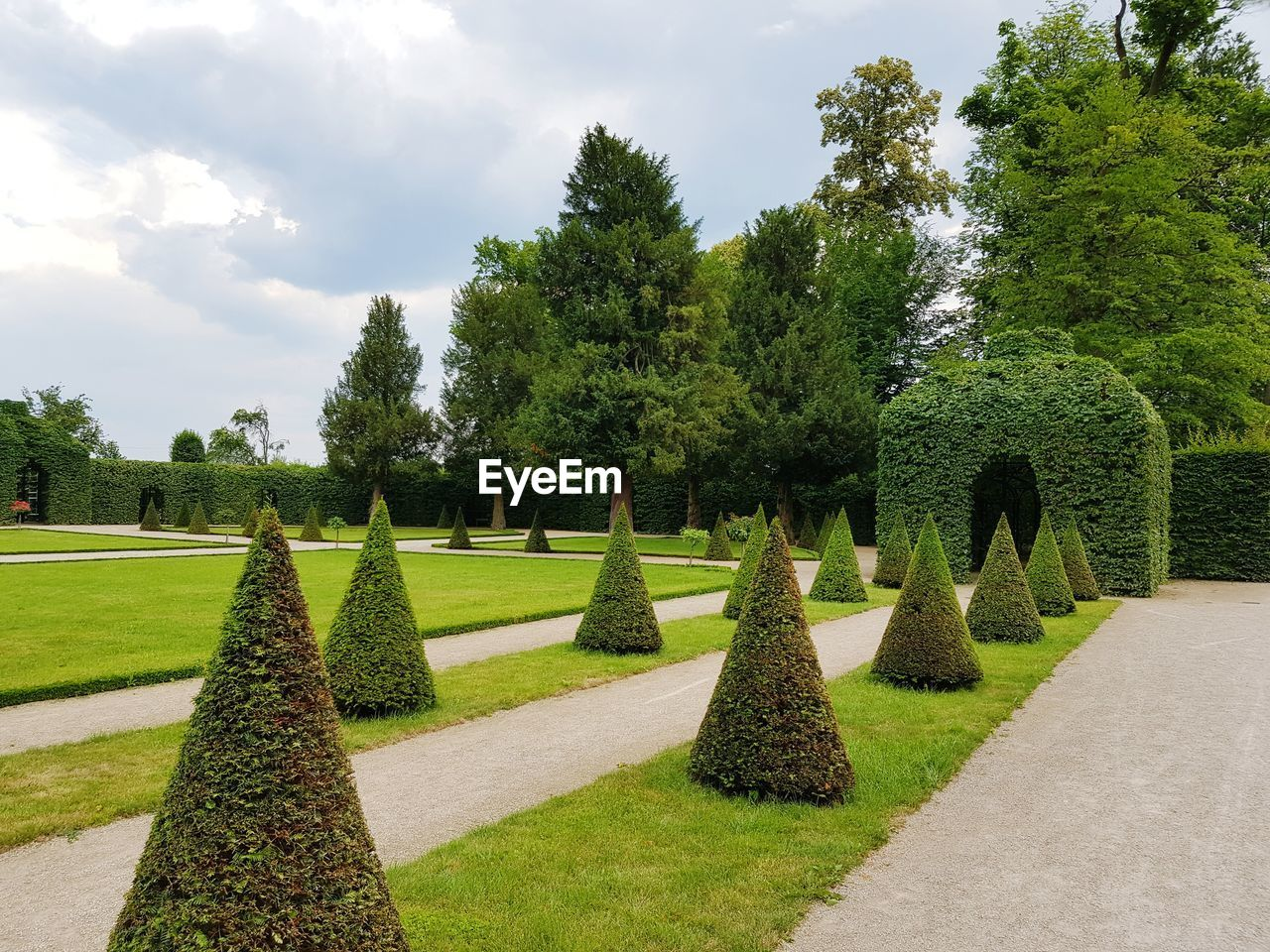 plant, tree, green color, growth, sky, grass, nature, cloud - sky, garden, park, beauty in nature, day, no people, tranquil scene, topiary, tranquility, formal garden, footpath, hedge, park - man made space, outdoors, garden path