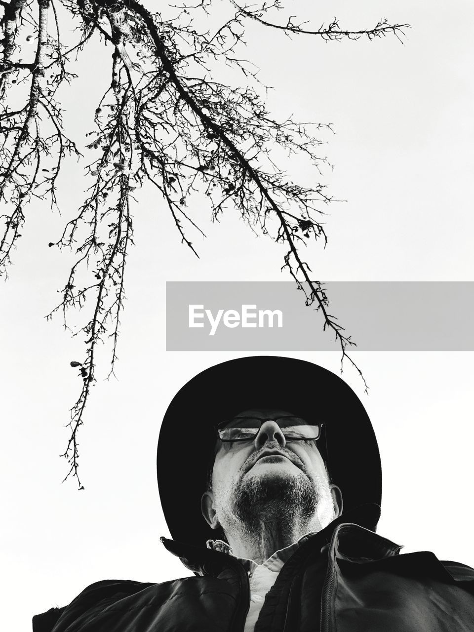 sky, low angle view, tree, facial hair, headshot, one person, beard, nature, plant, portrait, real people, clear sky, lifestyles, men, hat, day, leisure activity, outdoors, clothing, mature men, human face