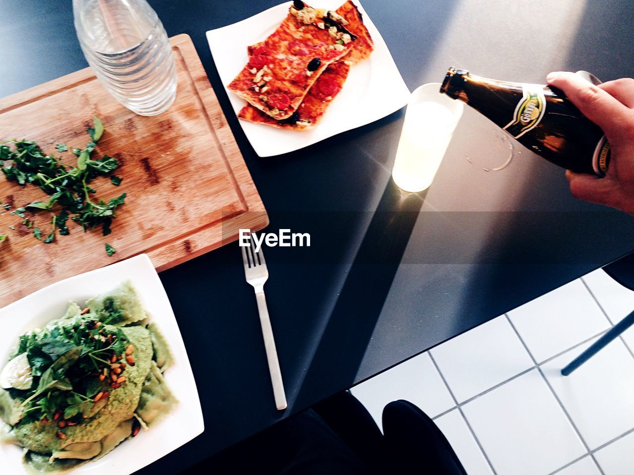 food and drink, food, human hand, plate, indoors, real people, table, high angle view, ready-to-eat, freshness, one person, healthy eating, human body part, close-up, day
