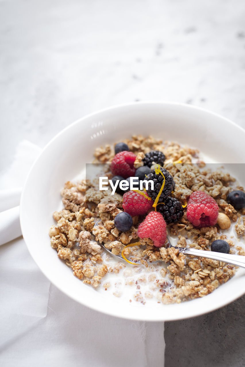 Healthy breakfast with cereals, rice milk and berries Berry Fruit Blueberry Bowl Breakfast Breakfast Cereal Close-up Day Drink Food Food And Drink Freshness Fruit Granola Healthy Eating Healthy Lifestyle Indoors  No People Oat Flake Oats - Food Raspberry Ready-to-eat Serving Size