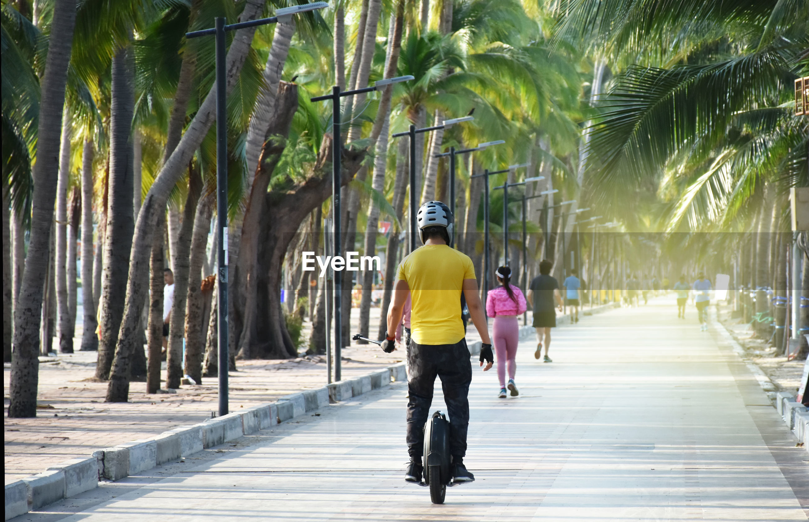 FULL LENGTH REAR VIEW OF MAN WALKING ON FOOTPATH IN PARK